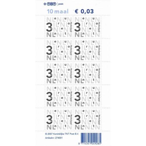 Bijplakzegels € 0,03